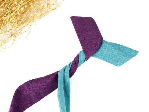 Maverick Village Calf Village Handmade Hairpin Aluminum Hair with multiple modeling headband Japanese plain stitching {sea blue sky} lake blue / deep purple 【A-161】