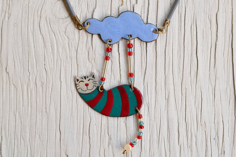 Cat necklace, Enamel necklace, Enameled jewelry, Cat jewelry, Cat And Cloud
