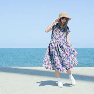 Blue purple rendering watercolor deformation flower short sleeve vintage dress