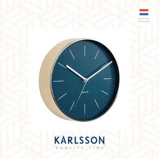 Karlsson 亮金框藍色掛鐘 wall clock Minimal petrol blue w.shiny gold case