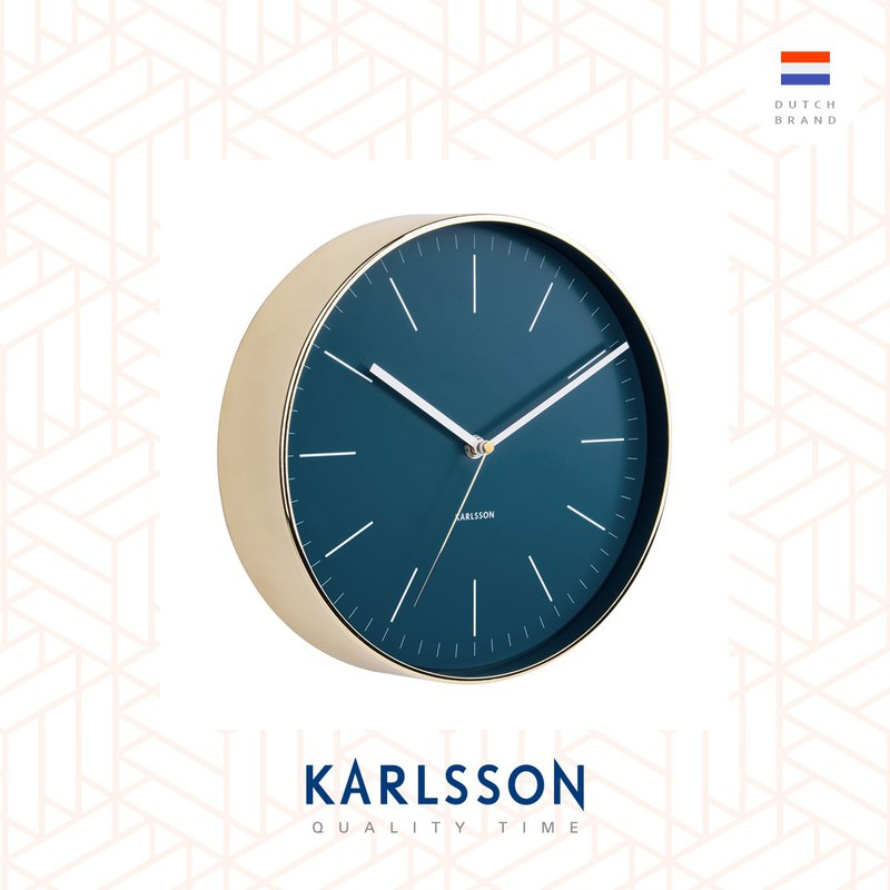Karlsson wall clock Minimal petrol blue w.shiny gold case