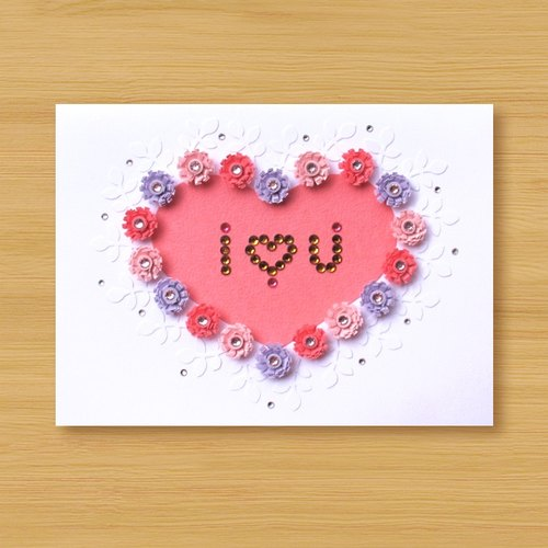 Hand roll card: love pattern I Love You_A (mother card, lover card, wedding greeting card)