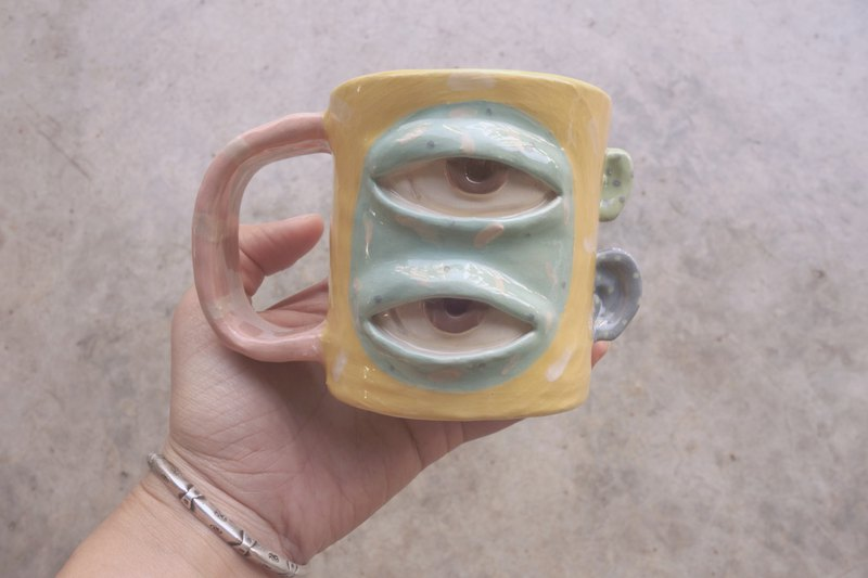 Handmade ceramic mug 2eye in yellow :)