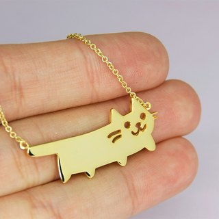 Cat Necklace in 925 Sterling Silver with 14k Yellow Gold plating
