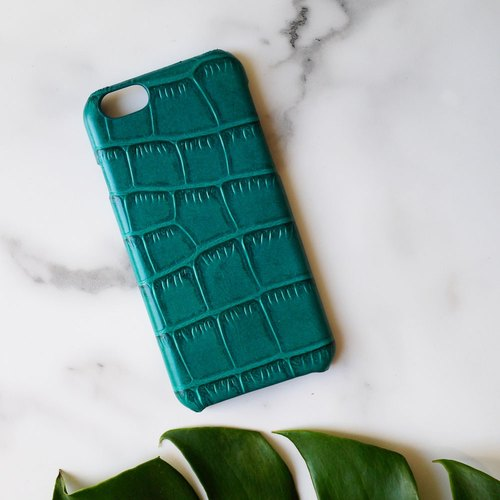 AOORTI :: Apple iPhone 6s/6s Plus Handcrafted Leather Coat Case/Mobile Phone Case - Crocodile/Gemstone Green