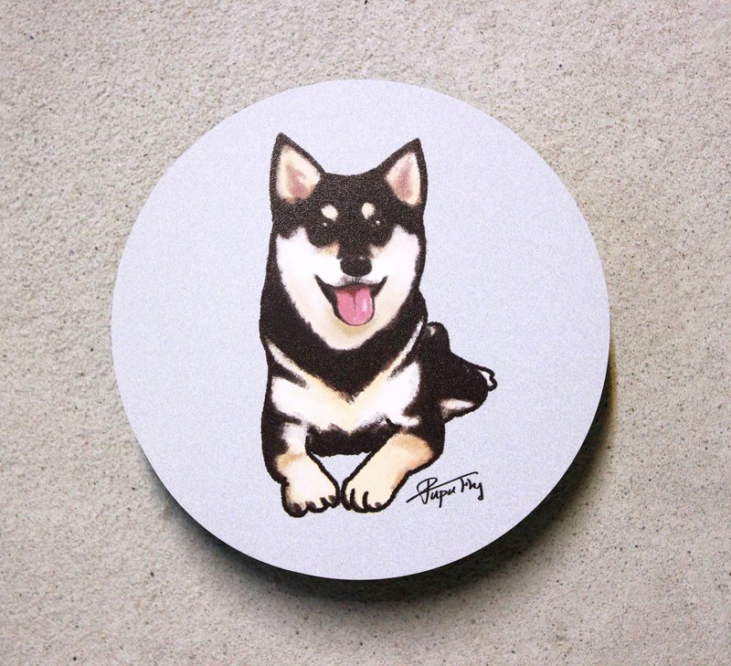 """Black Shiba Inu"" / original illustrations - absorbent ceramic coasters / Flies Planet / Hands Bazaar /"