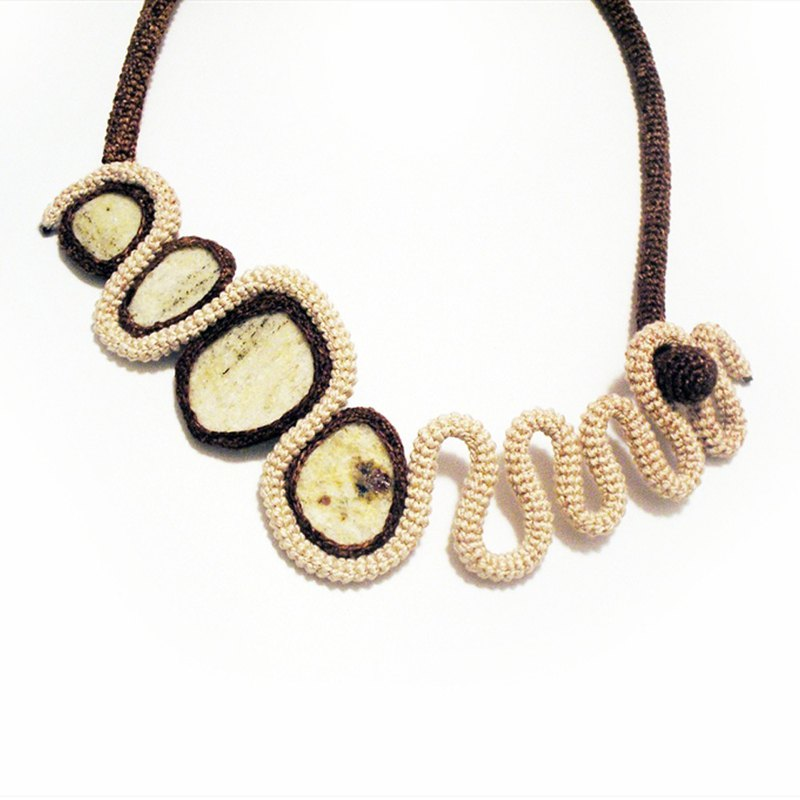 Unconventional Collar Necklace Ecru Brown Natural Granite Rock Crochet Art