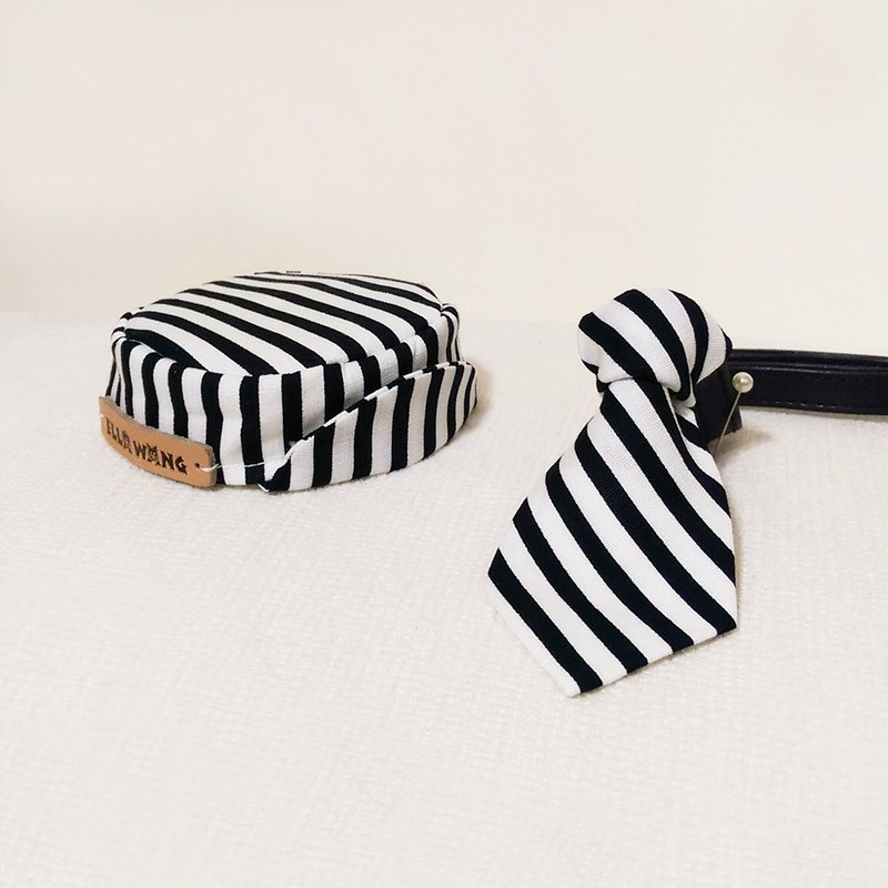 Ella Wang Design Hat Cap + Tie Tie Cat Dog Black and White Stripe Set
