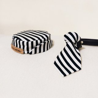 Ella Wang Design Hat cap + Tie black and white striped tie cats Pack