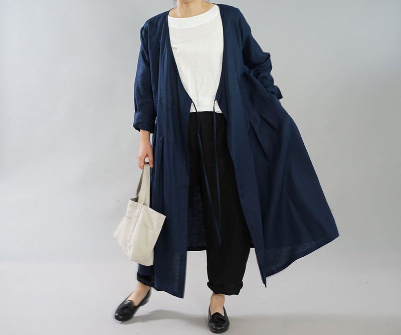 wafu  Linen dress / cache-coeur / long sleeve / long cardigan / navy a005d-neb2