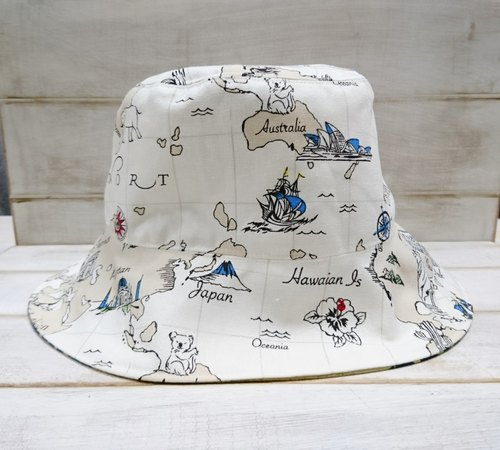 Adventure map & render english pattern double fisherman hat sun hat