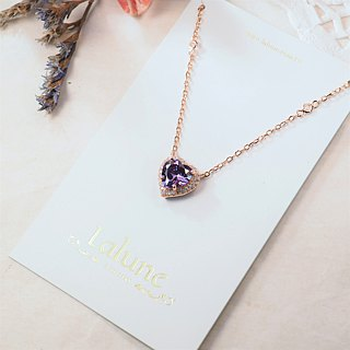 [Lalune] 925 sterling silver Jump Beat No. 2 heart-shaped powder drill necklace