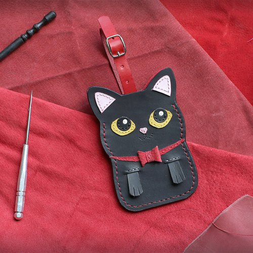 Cat - black cat handmade leather ID card / leisure card / ID card holder