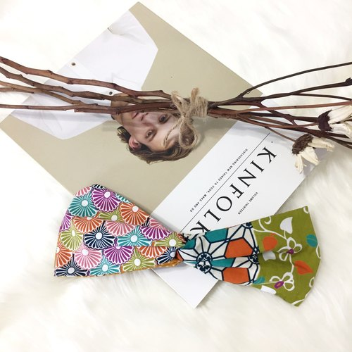 Kyoto girl / Japanese orange green and blue purple / wide version of the elastic hand made hair band
