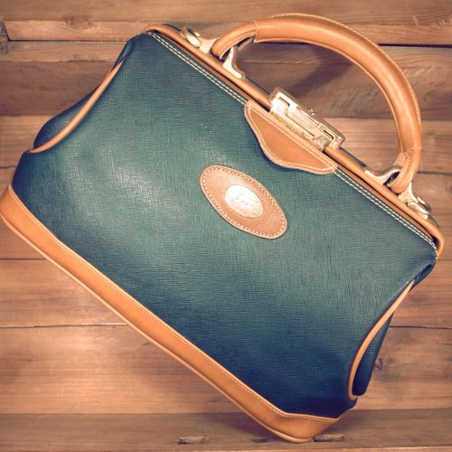 [Bones] TEXIER x caramel color green leather doctor bag portable canvas print scratch-resistant genuine antique bag Vintage