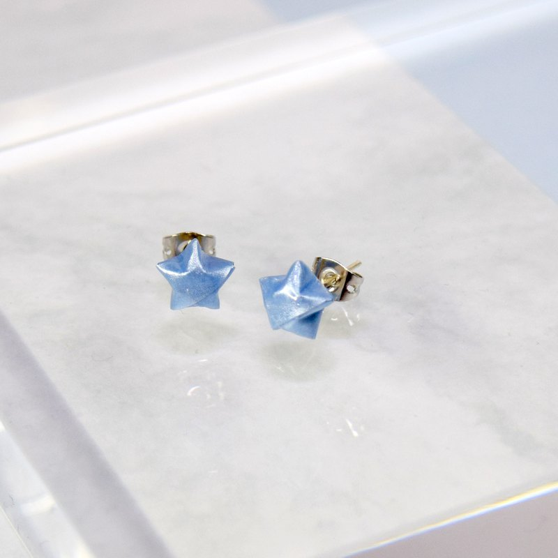 Cute Little Baby Blue Lucky Star Handmade Earrings