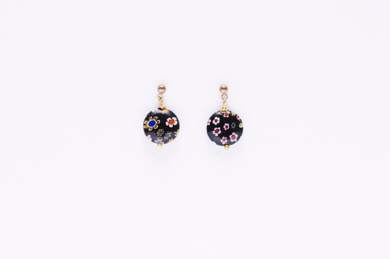 Flower Fruit Glass Earrings – Black