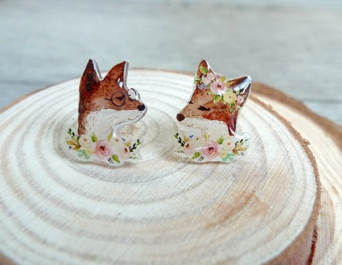 Misssheep-U60 - Miss Fox's Wedding Hand-Drawn Style Fox Asymmetric Handmade Earrings (Auricular/Ear clips)