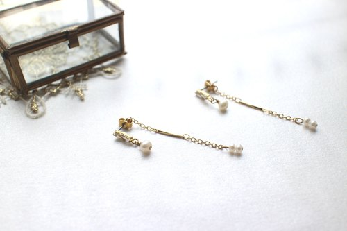 Little princess-Zircon brass handmade earrings