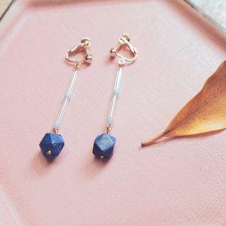 After paradise KoraKuen [pendant ore] 01 lapis lazuli clip-on earrings