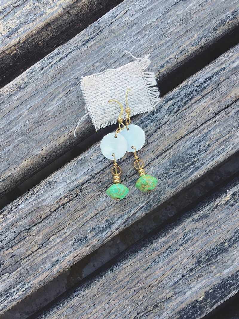 Mayan brass earrings turquoise changeable clip