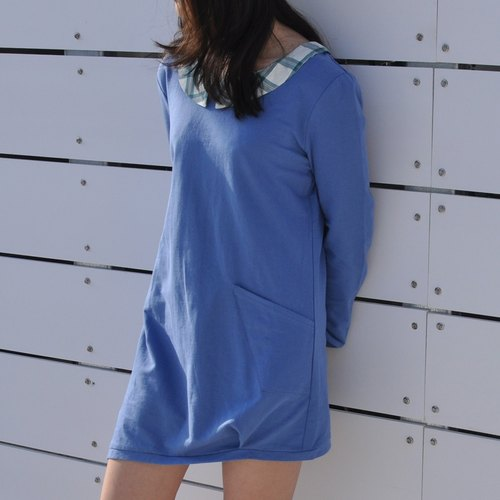 Mini Sweat Dress With Far Away Collar -Sky Blue