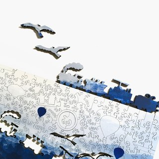 200P wooden puzzle _ blue morning
