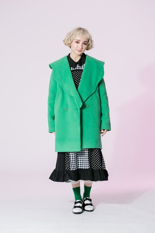 : EMPHASIZE microwave wave edge big lapel wool coat jacket - Green