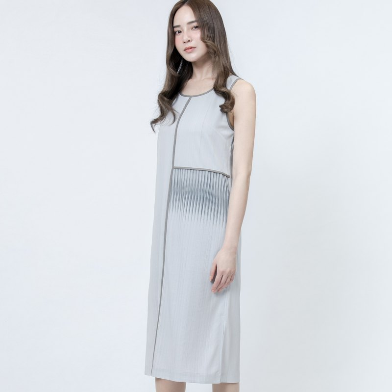 折射印花洋裝 Grey Refraction Patterns Printed Dress