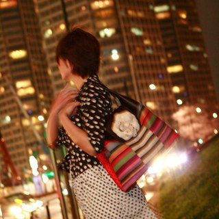 leather handle tote bag Magic Hour White Corsage dots borders stripes orange