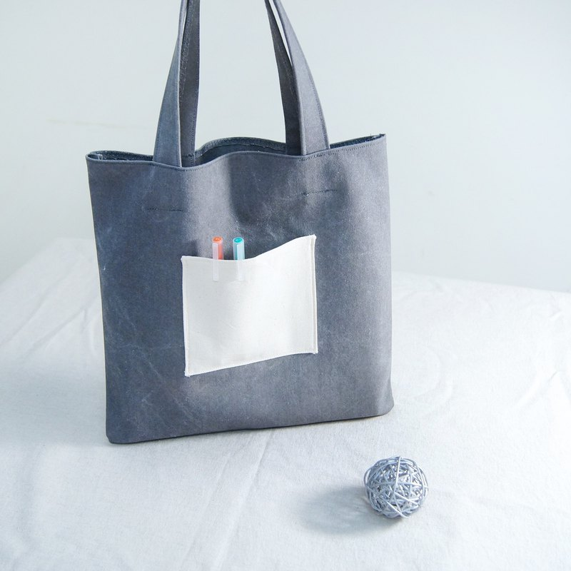 Simple texture stiff wash canvas big gray bag
