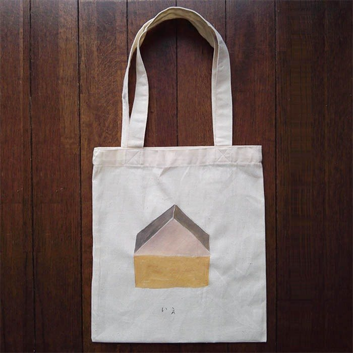 Hand-painted one point cotton bag house illustrations