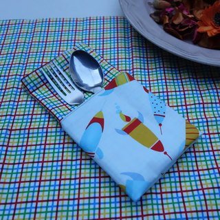 Blue plaid color line X rocket-sided placemats Color checks & Blue rocket placemats <one pair / 1 pair>