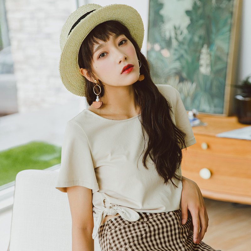 Anne Chen 2018 summer new style women's hem lace round neck knit T-shirt
