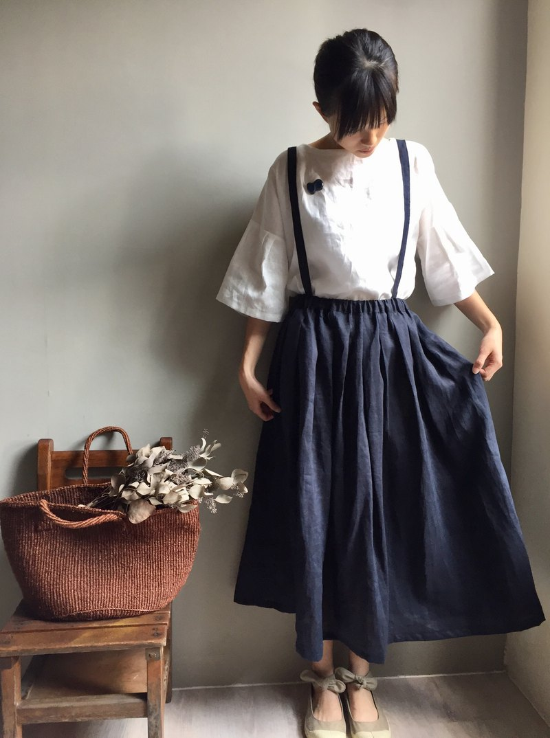 Forest School / Navy Blue Sling Pleated High-grade linen long skirt / 2 wear