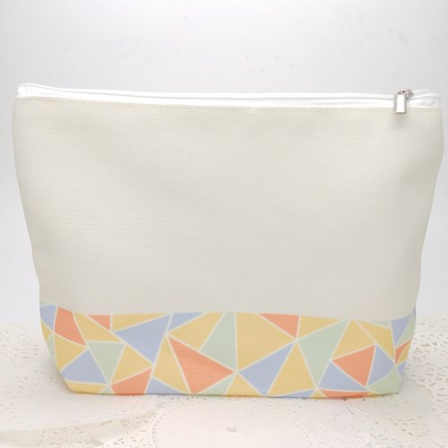 Mosaic Pattern Makeup Bag - Orange and Blue color