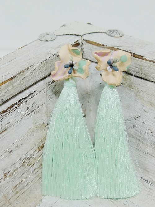 Hand-painted flower leather earrings