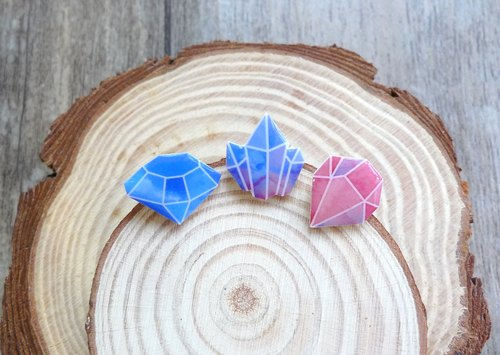 Misssheep- [Cut Gem] Watercolor Hand Style Earrings (Ear / Transparent Earrings) [Single]