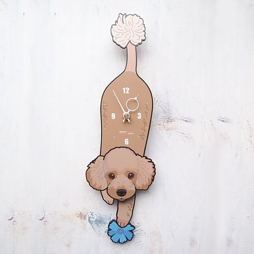 D-117 Poodle(brown) - Pet's pendulum clock
