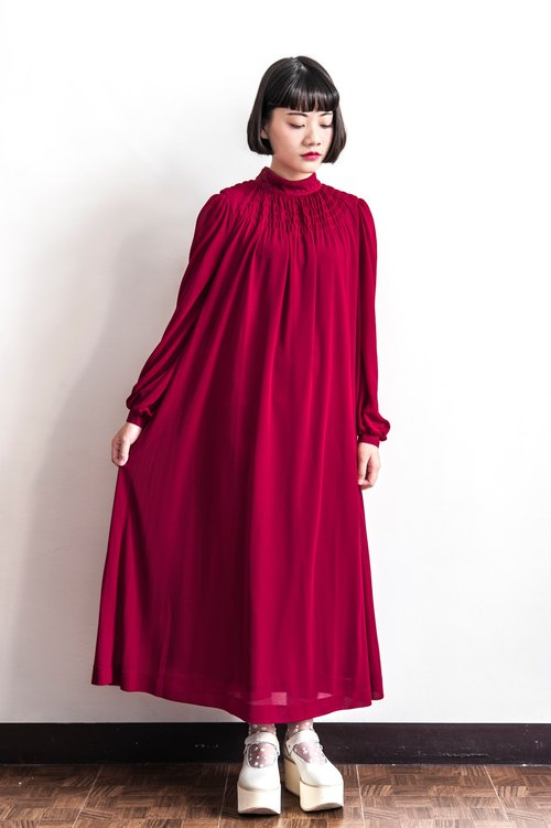 Vintage High Collar Red Long Sleeve Antique Dress