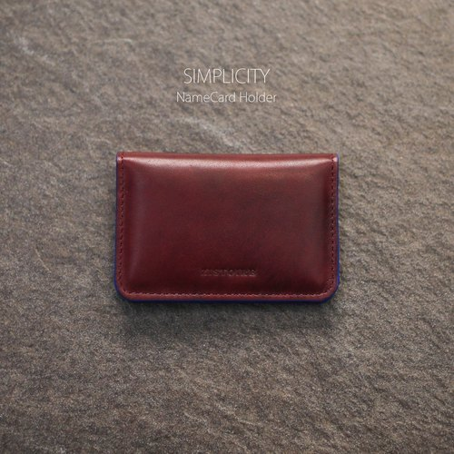 [SIMPLICITY] ZiBAG-027 / NameCard Holder / minimalist business card holder / burgundy (clouds brushed) │Burgundy (oil side: blue)
