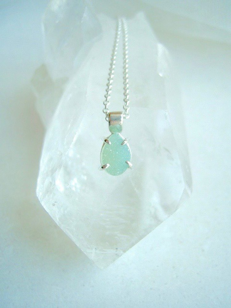 Crystalline agate necklace / pale emerald green