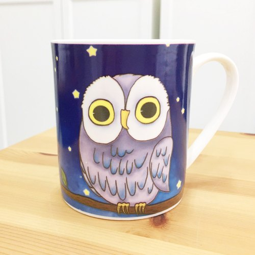 Bone china mug - owl / microwave / through SGS