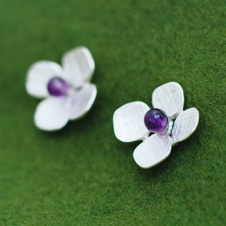 Hydrangea - earrings - amethyst - flower - hypo-allergenic - free shipping