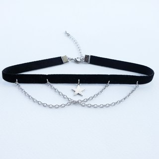 Star and chain velvet choker/necklace in black