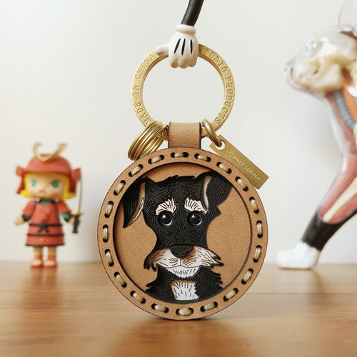 Schnauzer Original Design Cowhide Keychain Pendant Lovers Birthday Gifts Boyfriend Girlfriend Customized Gifts
