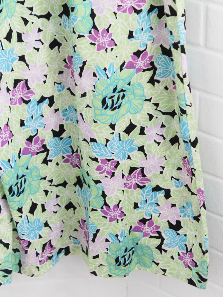 Vintage autumn pop style geometric flower print graphic green cotton loose short-sleeved vintage dress