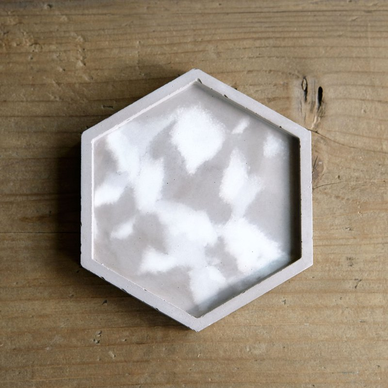 Warm Cement Coaster | Hexagonal Geometry Dish Tray Coffee Grey