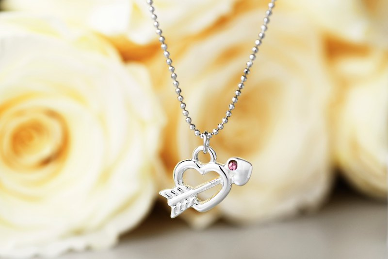Heart Lock Series Cupid Shaped Necklace Pink Diamond (NLAJA0834N-1)