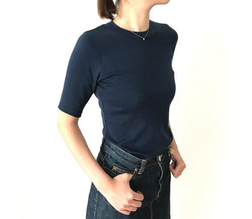 Ribbed knitting cut adult adhering to shape  NAVY【Size development available】